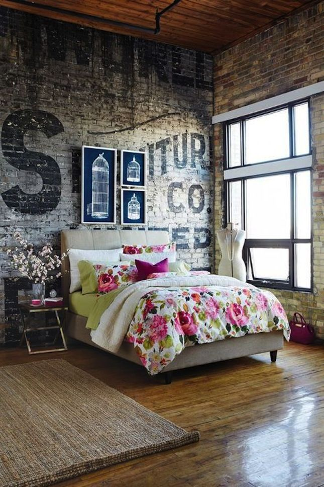 Exposed brick with floral
