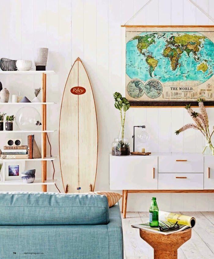 Surf board living room
