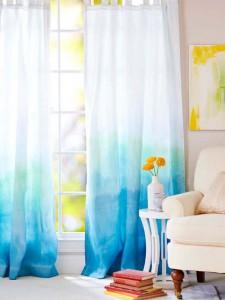 Dip Dye White Curtains