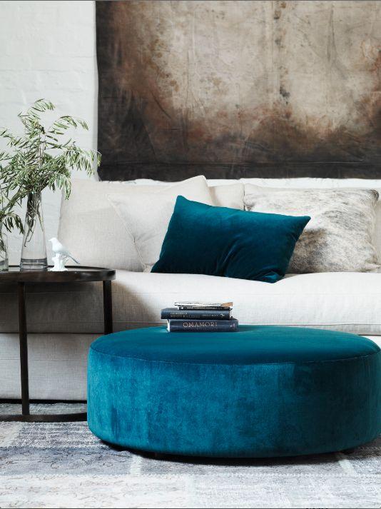 teal footstool