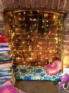 fireplace reading nook