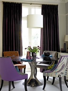 Elegant silk dining room curtains