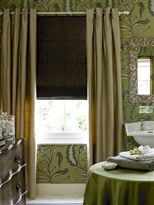 Lavish bathroom curtains and blind