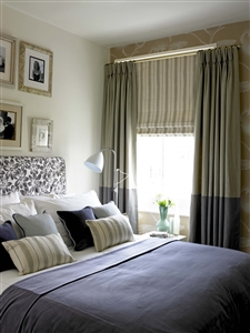 Two-tone bedroom curtains
