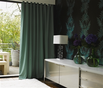 Green tab top curtains
