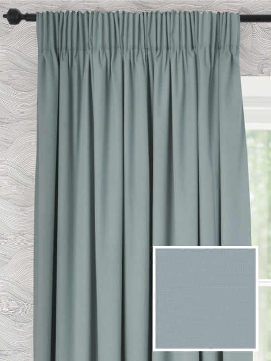 Ready Made Pencil Pleat Curtains In Heron