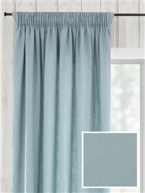 pencil pleat ready made linen curtains in July. 70% off.