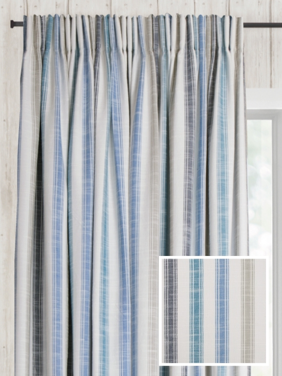 Ready Made Pencil Pleat Curtains In Biscay Natural