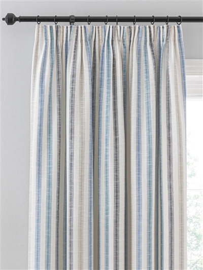 pencil pleat ready made curtains in Biscay.  100% cotton.