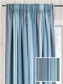 pencil pleat ready made curtains in Azure.  100% cotton.