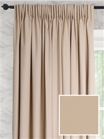 pencil pleat ready made cotton curtains in Rum.  20% off.