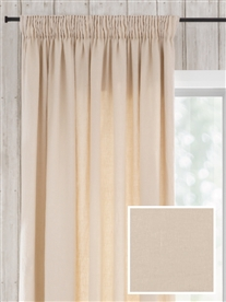 pencil pleat ready made curtains in June.  100% linen.