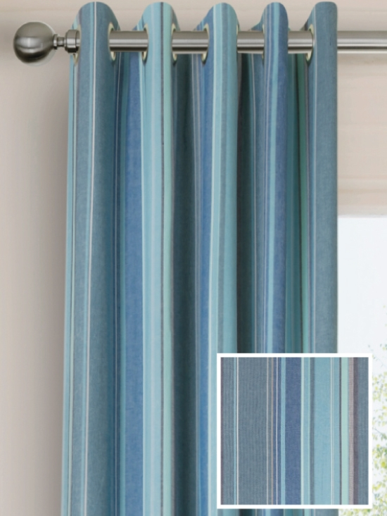 Ready Made Pencil Pleat Curtains In Azure Natural
